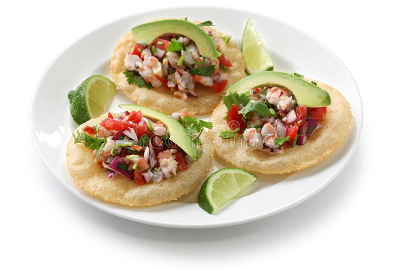 Tostadas de ceviche, mexican food royalty free stock photos