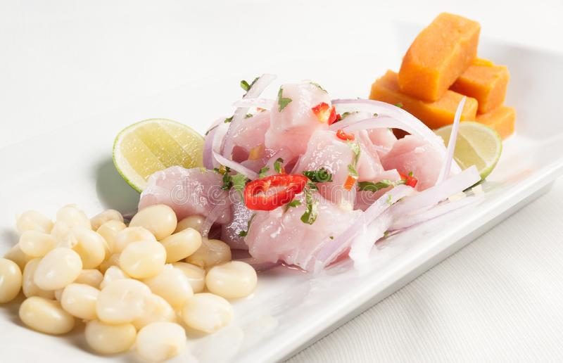 Ceviche. Raw fish marinated on lime juice. stock photography