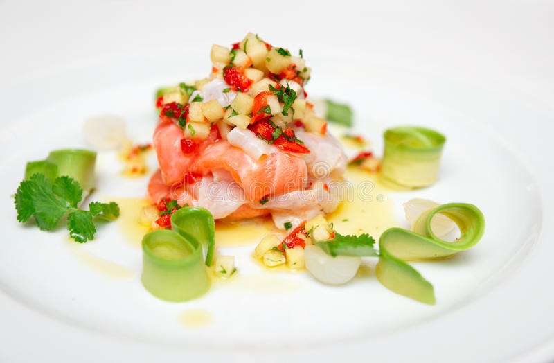 Ceviche of seabass and salmon. With finely cut vegetables stock photo
