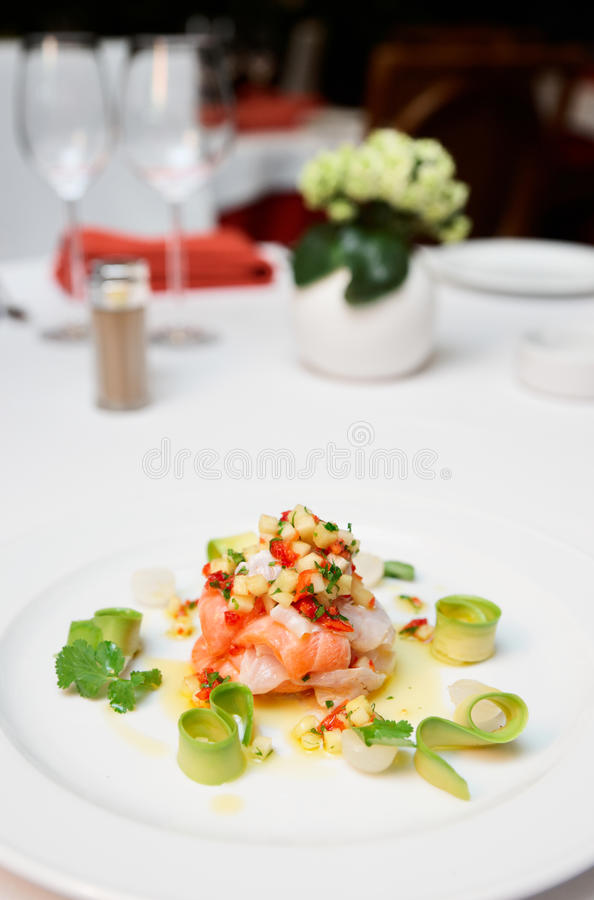 Ceviche of seabass and salmon. Vith fine cut vegetables royalty free stock photography