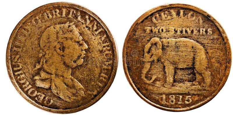 Ceylon 1815, dwa stivers, królewiątko George III, odwrotny słoń obraz stock