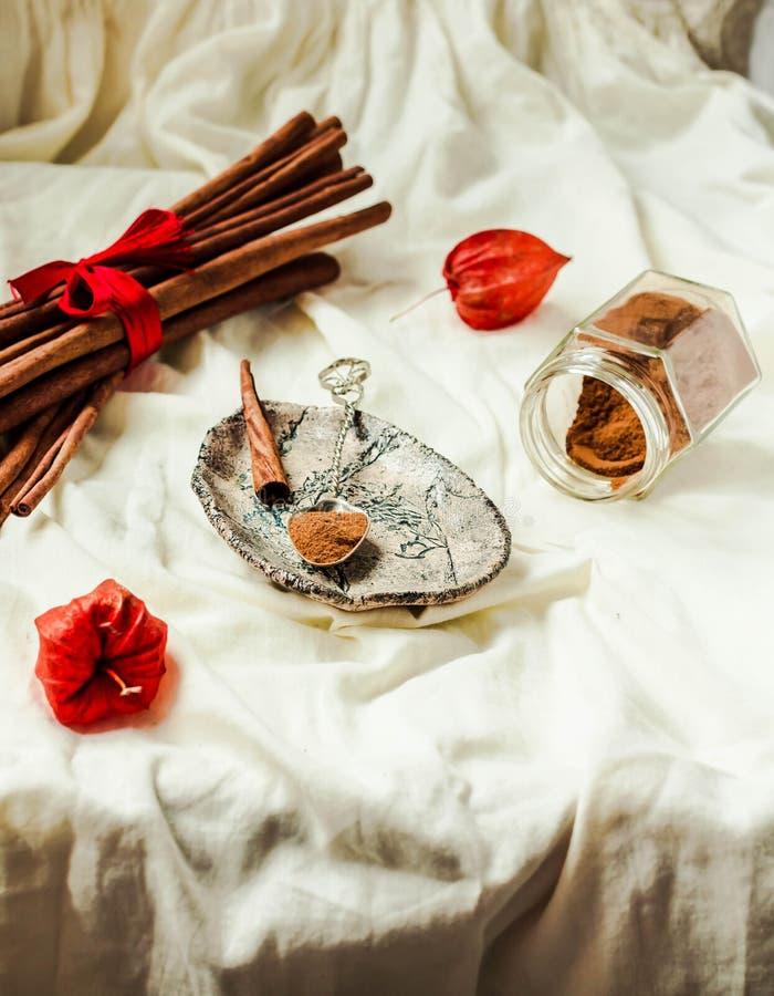 Ceylon istny cynamon, proszek w słoju i kij, Zima Chrystus fotografia royalty free