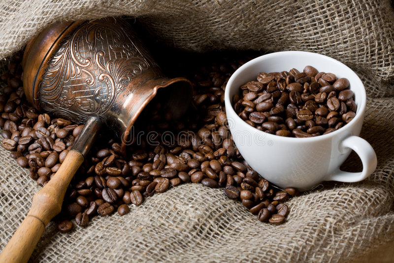 Cezve And Cup With Roasted Coffee Beans Stock Photography