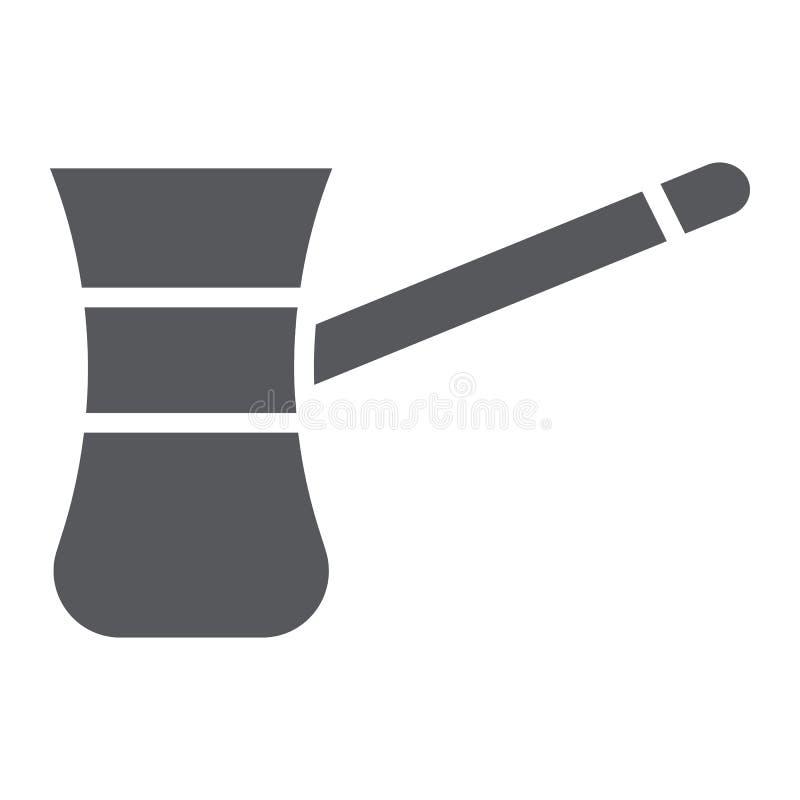 Cezve för coffeskårasymbolen, mat och drinken, gammalt kaffebryggaretecken, vektordiagram, en fast modell på ett vitt vektor illustrationer