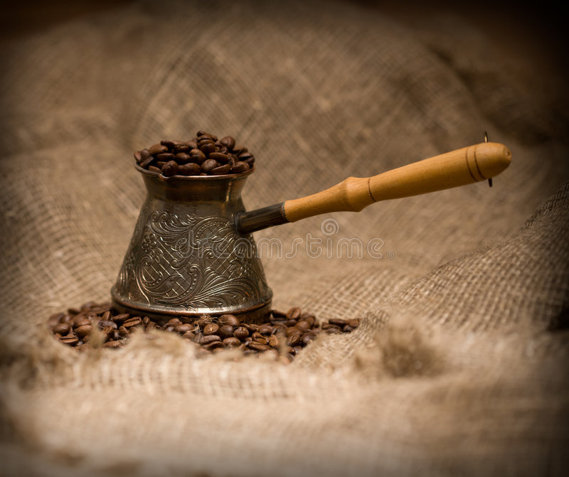 Download Cezve With Freshly Roasted Coffee Beans Stock Photo - Image: 7236912