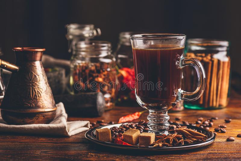 Glass of Coffee with Spices. stock image