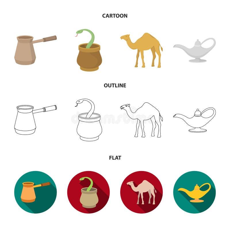 Cezve, Olielamp, kameel, slang in de mand De Arabische emiraten geplaatst inzamelingspictogrammen in beeldverhaal, schetsen, vlak stock illustratie