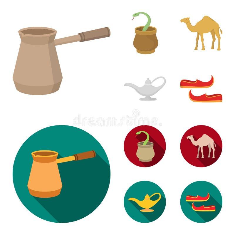 Cezve, Olielamp, kameel, slang in de mand Arabische emiraten geplaatst inzamelingspictogrammen in beeldverhaal, de vlakke voorraa stock illustratie