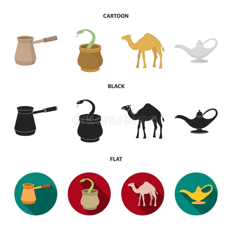 Cezve, Olielamp, kameel, slang in de mand Arabische emiraten geplaatst inzamelingspictogrammen in beeldverhaal, zwart, vlak stijl royalty-vrije illustratie
