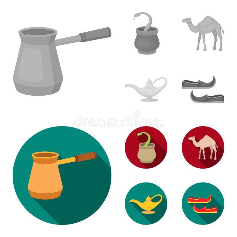 Cezve, Olielamp, kameel, slang in de mand Arabische emiraten geplaatst inzamelingspictogrammen in zwart-wit, vlak stijl vectorsym stock illustratie
