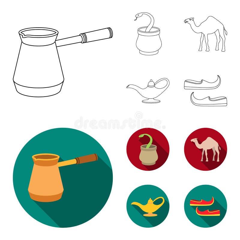Cezve olje- lampa, kamel, orm i korgen Fastställda samlingssymboler för arabiska emirater i översikten, materiel för symbol för l vektor illustrationer