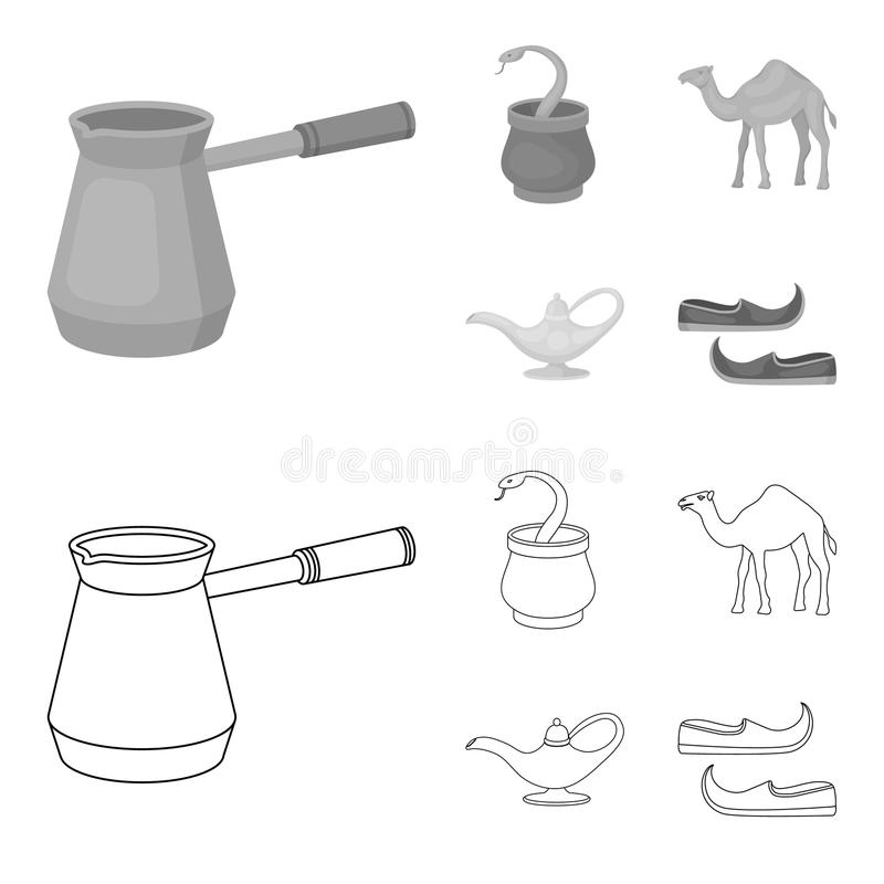 Cezve olje- lampa, kamel, orm i korgen Fastställda samlingssymboler för arabiska emirater i översikten, monokromt stilvektorsymbo stock illustrationer