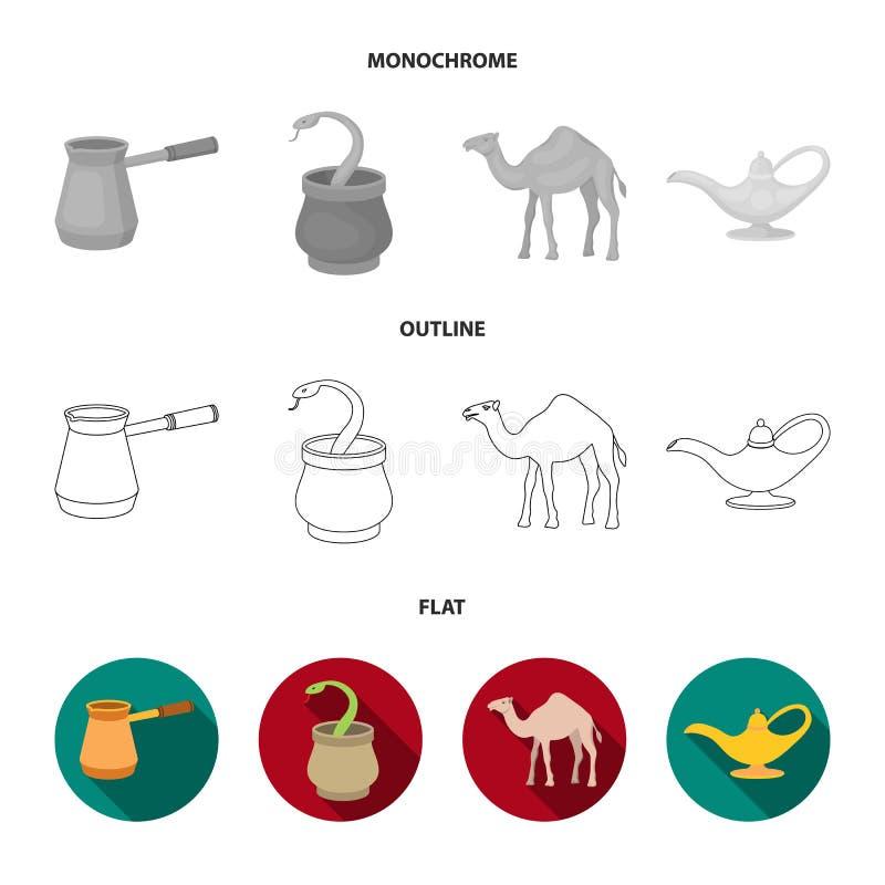 Cezve olje- lampa, kamel, orm i korgen Fastställda samlingssymboler för arabiska emirater i lägenheten, översikt, monokrom stilve vektor illustrationer