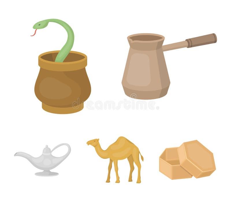 Cezve olje- lampa, kamel, orm i korgen Fastställda samlingssymboler för arabiska emirater i materiel för symbol för tecknad films vektor illustrationer