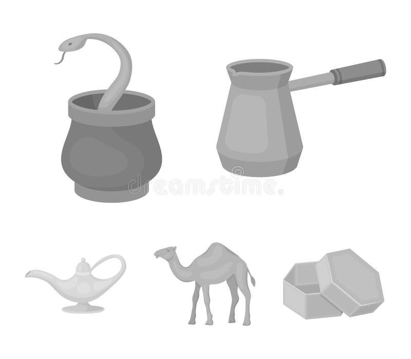 Cezve olje- lampa, kamel, orm i korgen Fastställda samlingssymboler för arabiska emirater i monokromt materiel för stilvektorsymb royaltyfri illustrationer