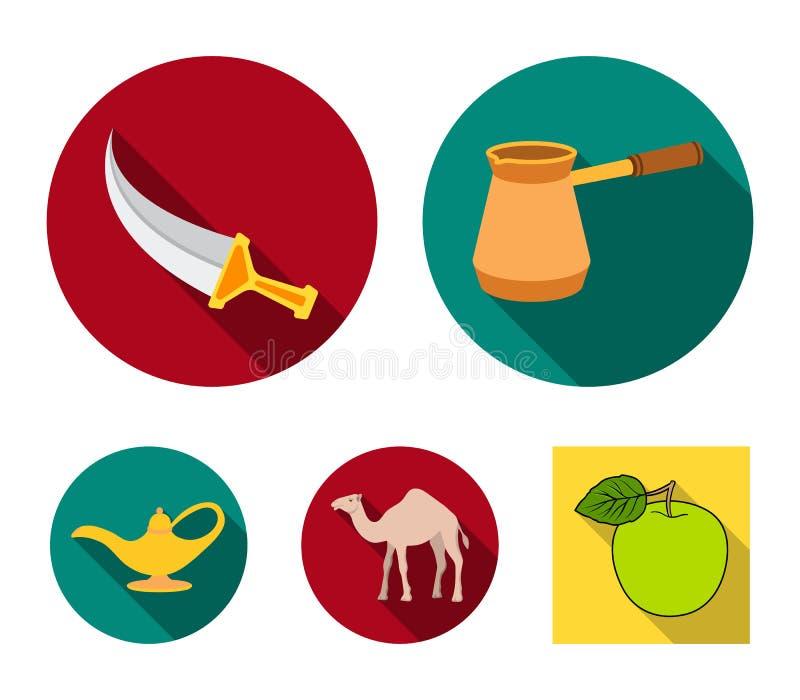 Cezve olje- lampa, kamel, orm i korgen Fastställda samlingssymboler för arabiska emirater i plant materiel för stilvektorsymbol royaltyfri illustrationer