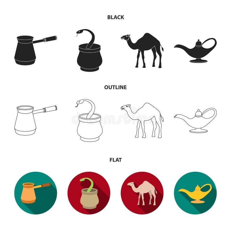 Cezve olje- lampa, kamel, orm i korgen Fastställda samlingssymboler för arabiska emirater i svart, lägenhet, symbol för översikts royaltyfri illustrationer