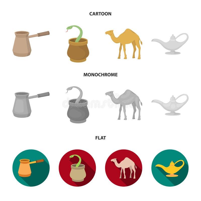Cezve olje- lampa, kamel, orm i korgen Fastställda samlingssymboler för arabiska emirater i tecknade filmen, lägenhet, monokrom s stock illustrationer