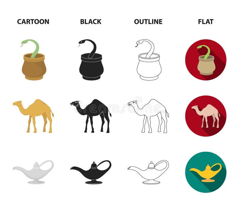 Cezve olje- lampa, kamel, orm i korgen Fastställda samlingssymboler för arabiska emirater i tecknade filmen, svart, översikt, läg royaltyfri illustrationer