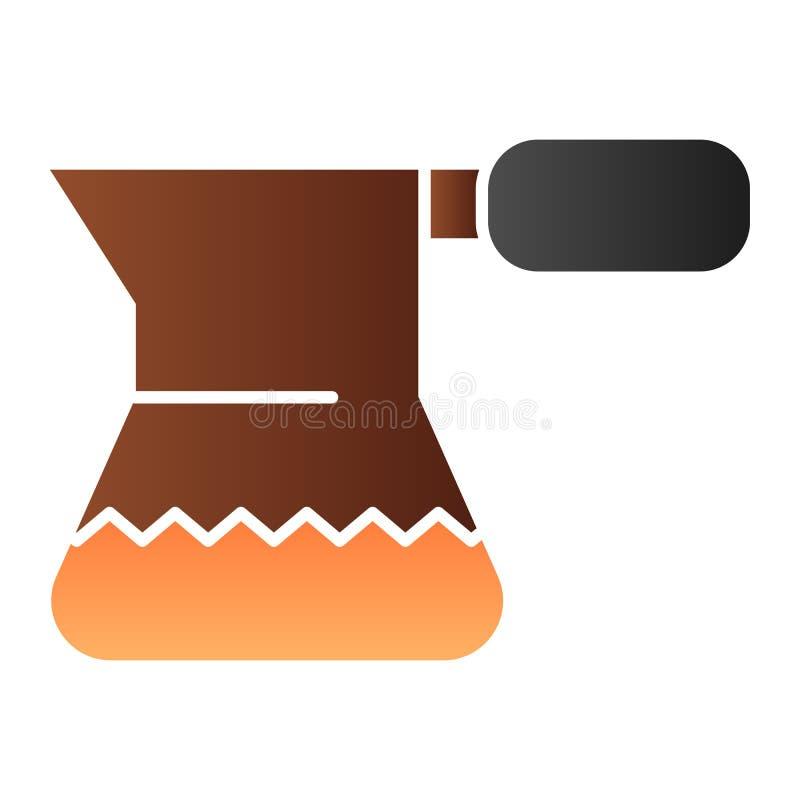 Cezve para o ícone liso do café Ícones da cor do potenciômetro do café turco no estilo liso na moda Projeto do estilo do inclinaç ilustração do vetor