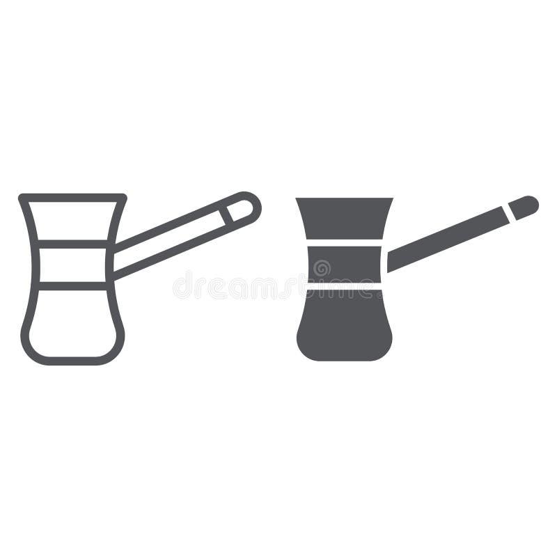 Cezve pour la ligne de coffe et l'icône de glyph, la nourriture et la boisson, vieux signe de fabricant de café, graphiques de ve illustration de vecteur