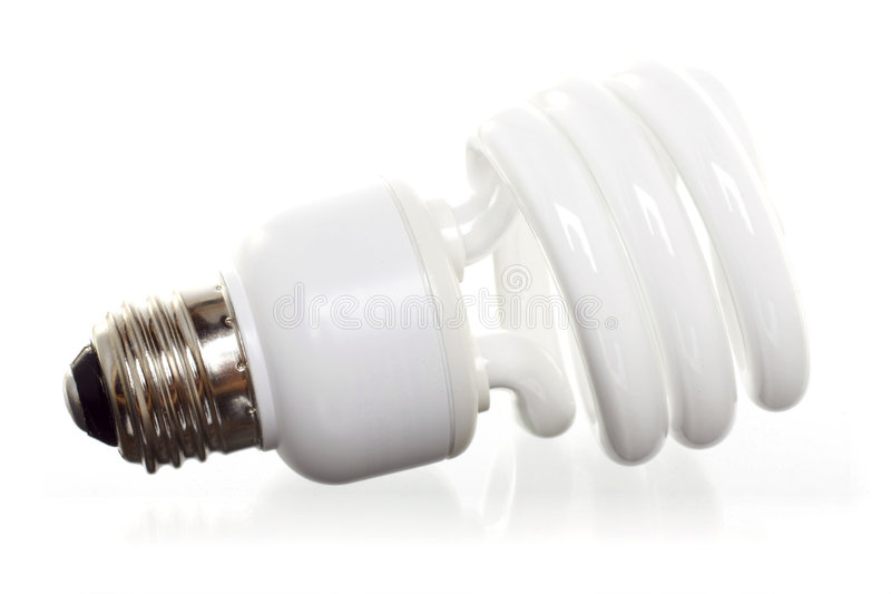CFL on white. Compact Fluorescent Light Bulb (CFL), Horizontal, with Reflection Against White Ground stock photos