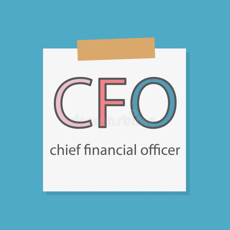 CFO Chief Financial Officer written in a notebook paper. Vector illustration royalty free illustration