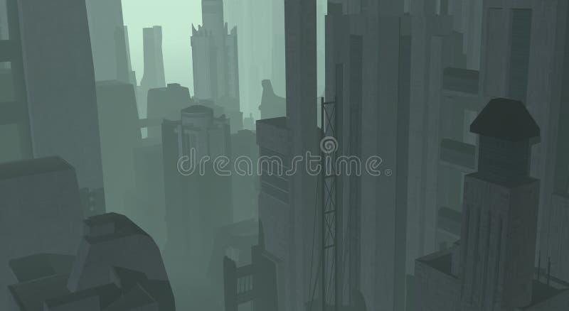 Download Cg city stock illustration. Image of future, haze, mist - 4168913