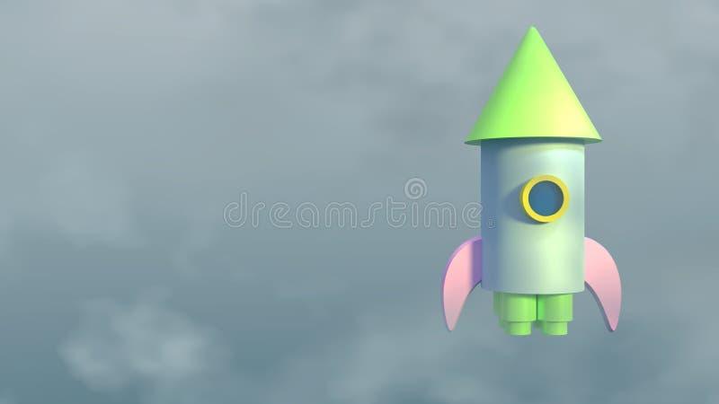 CG odpłaca się zabawkarski statek kosmiczny w niebie ilustracja wektor