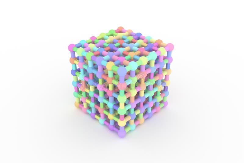 CGI геометрический, concepture стиля молекулы, блокировать квадрат для текстуры дизайна, предпосылки E иллюстрация штока