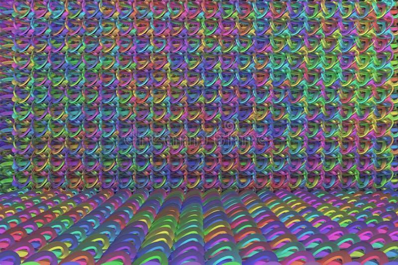 CGI composition, string mat, geometric backdrop for design texture, background. 3D render. String mat geometric backdrop, illustrations of CGI composition, for royalty free illustration