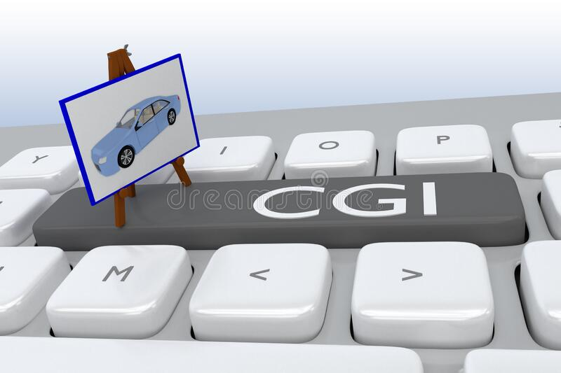 CGI - Computer Graphic concept. 3D illustration of computer keyboard with the script CGI on a button, along with a tripod displaying a proposed product stock illustration