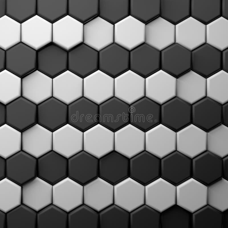 CGI 3d heksagonalny tapetowy tło royalty ilustracja