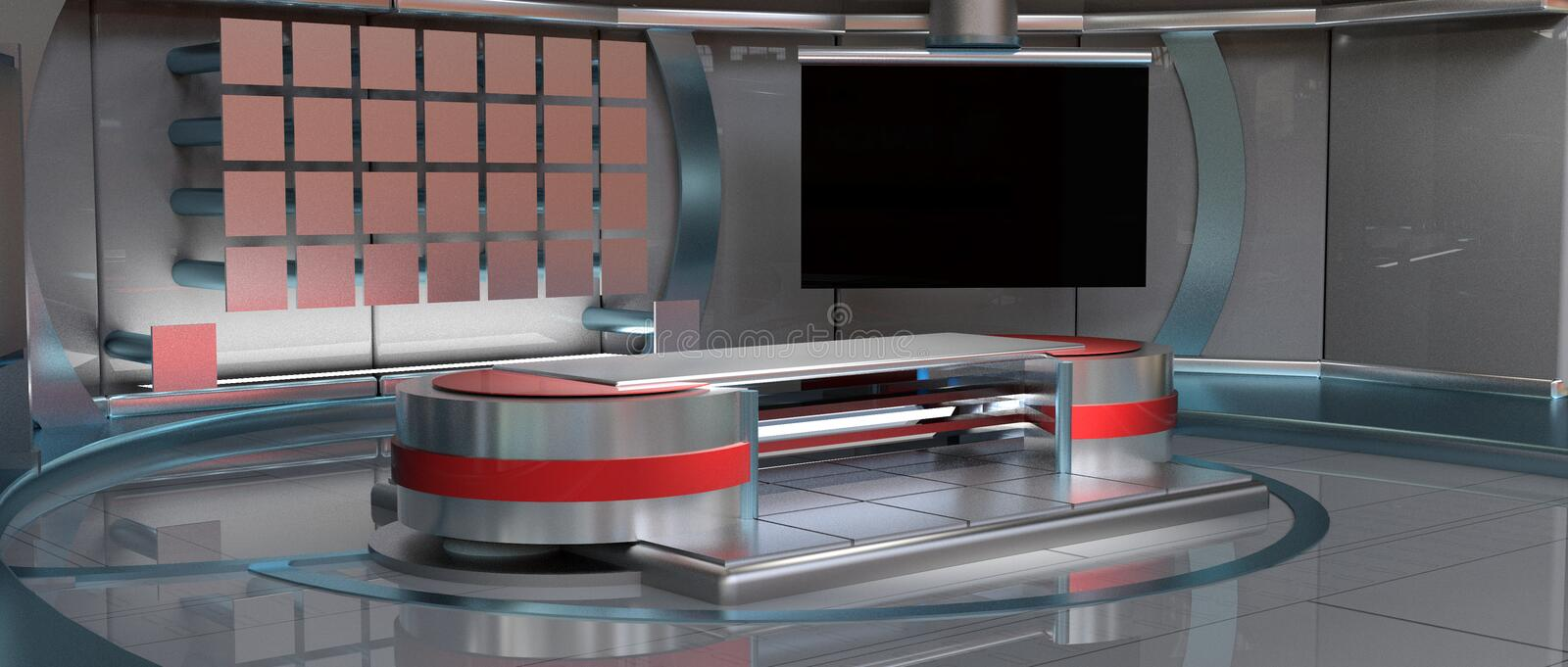 News Virtual Set, left view. CGI 3D rendered news Virtual Set in metallic red, left camera view royalty free illustration
