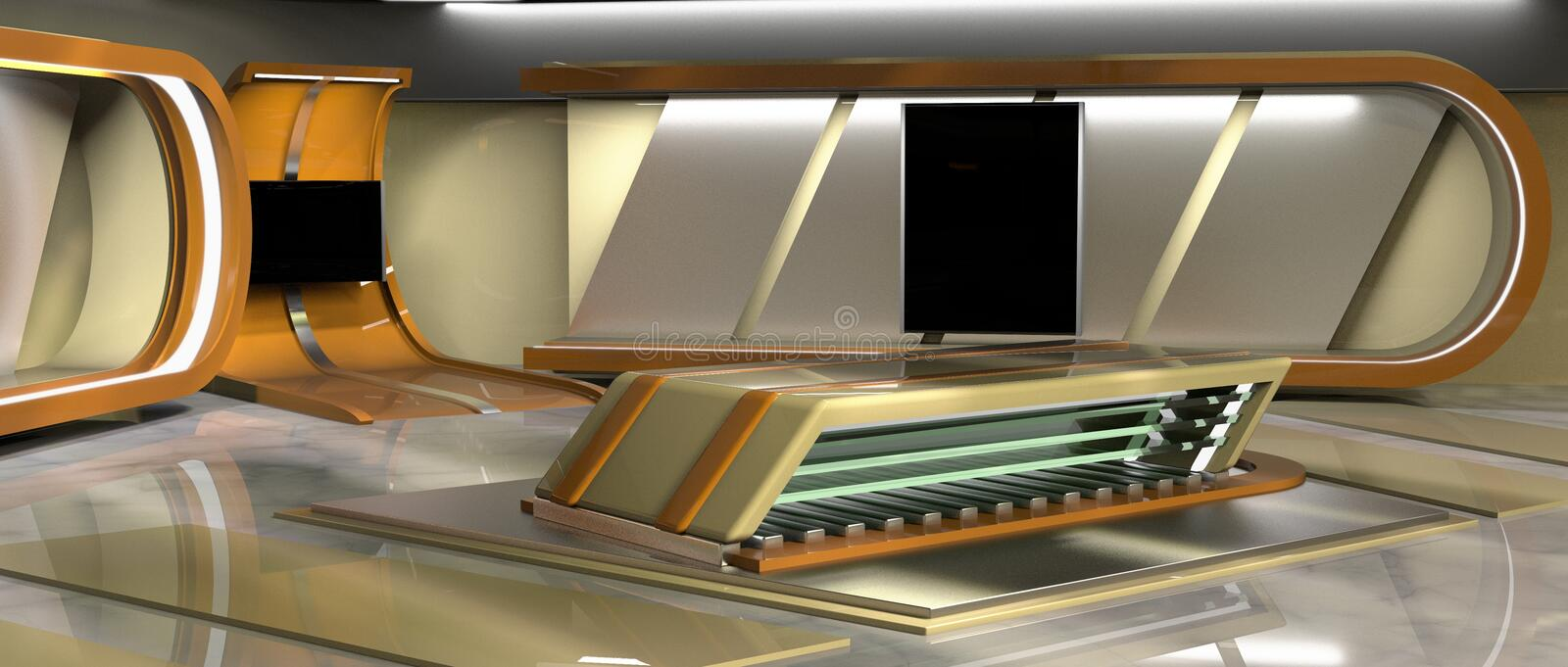 News Virtual Set. CGI 3D rendered Virtual Set for news and TV, left view vector illustration