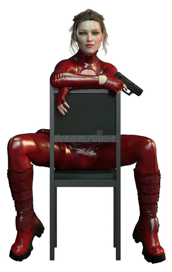CGI-de Moordenaar in Rode Uitrusting spreekt zich niet uit over Stoel royalty-vrije stock foto
