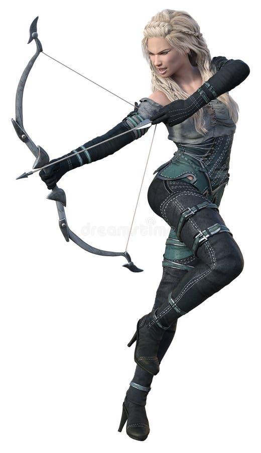 CGI-Fantasie Archer Angrily Firing Arrow royalty-vrije stock foto