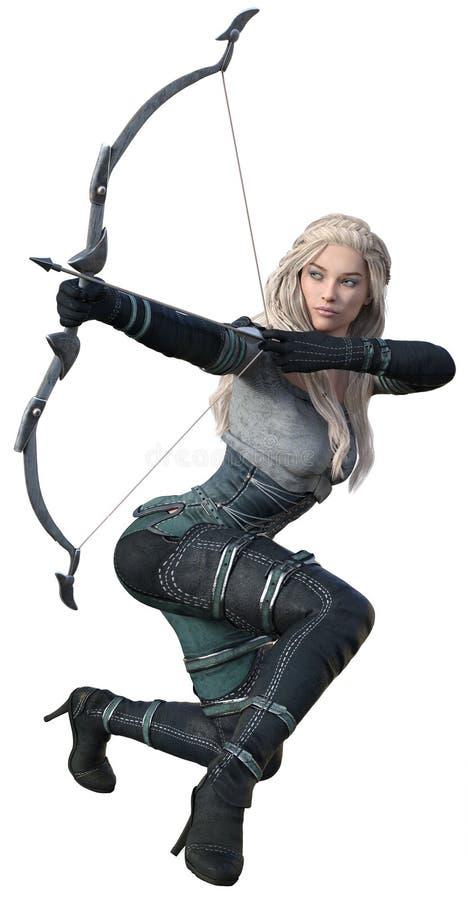 CGI-Fantasie Archer Crouching stock foto's