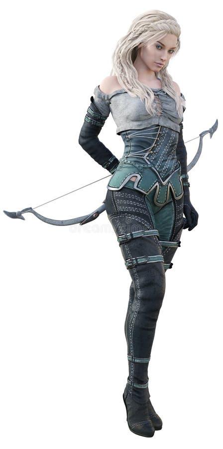 Cgi-Fantasie Archer Standing mit Bogen hinter ihrer Rückseite vektor abbildung