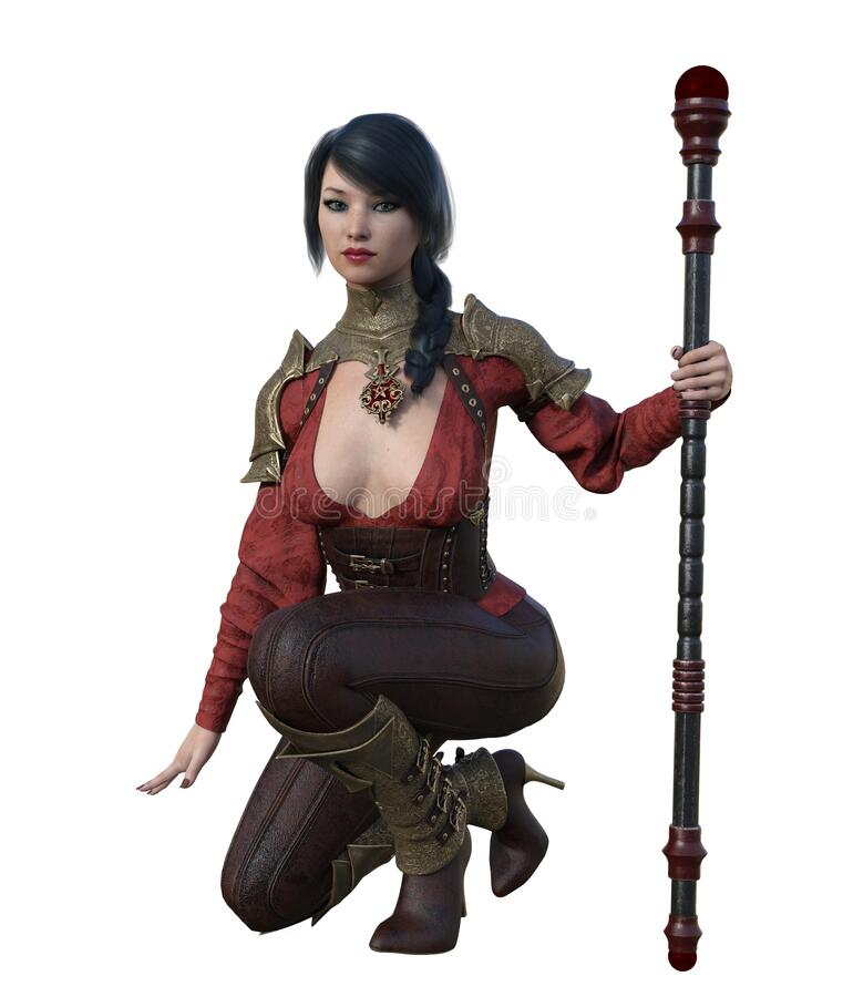 CGI Female Kneeling with Staff. CGI female fantasy warrior, dressed in leather with armored shoulders and shins, kneels as she holds a staff stock illustration