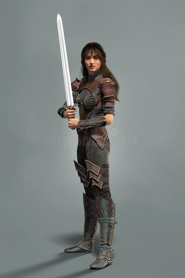 Medieval style fantasy woman warrior with a sword. A CGI full length portrait of a beautiful medieval fantasy style woman warrior holding a sword vector illustration