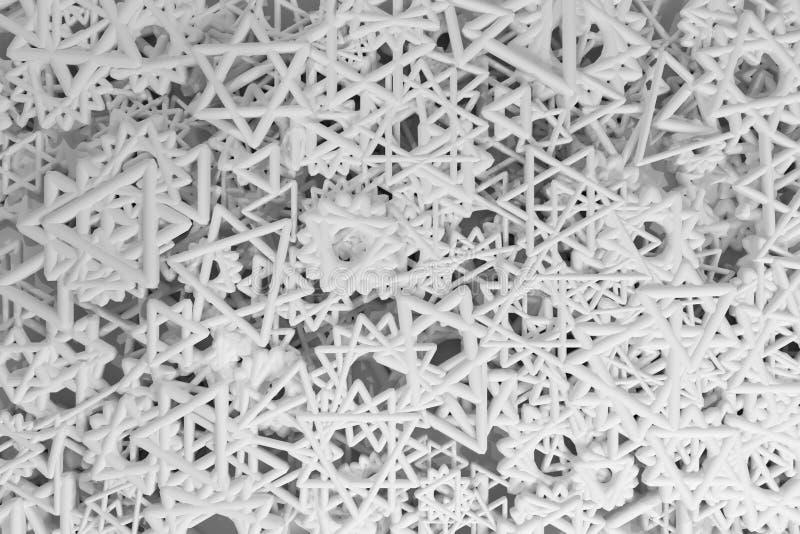 Cgi geometrico, mazzo di triangolo & stella, vista dalla cima per struttura di progettazione, fondo B&w grigio o in bianco e nero illustrazione di stock