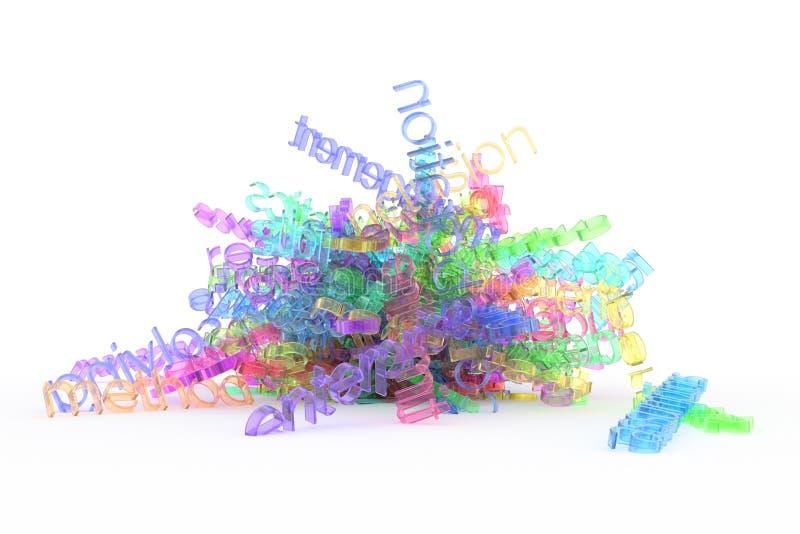 CGI typografia, wiązka biznesowego słowa ewidencyjny przeciążenie dla projekt tekstury, tło Grafika, wzór, sieć & przejrzysty, royalty ilustracja