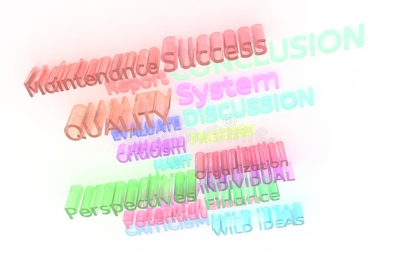Cgi-Typografie, geschäftsverwandte Schlüsselwörter für Entwurfsbeschaffenheit, Hintergrund Wilde Ideen, Perspektiven, Kritik, Sys vektor abbildung