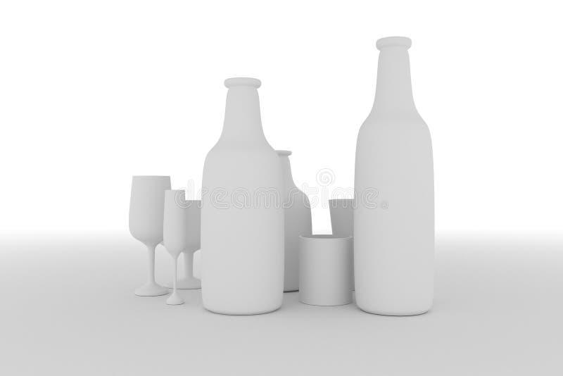 Cgi-Zusammensetzung, concepture Stillleben, Flasche u. Glas f?r Entwurfsbeschaffenheit, Hintergrund Grau oder Schwarzweiss--b&w 3 vektor abbildung