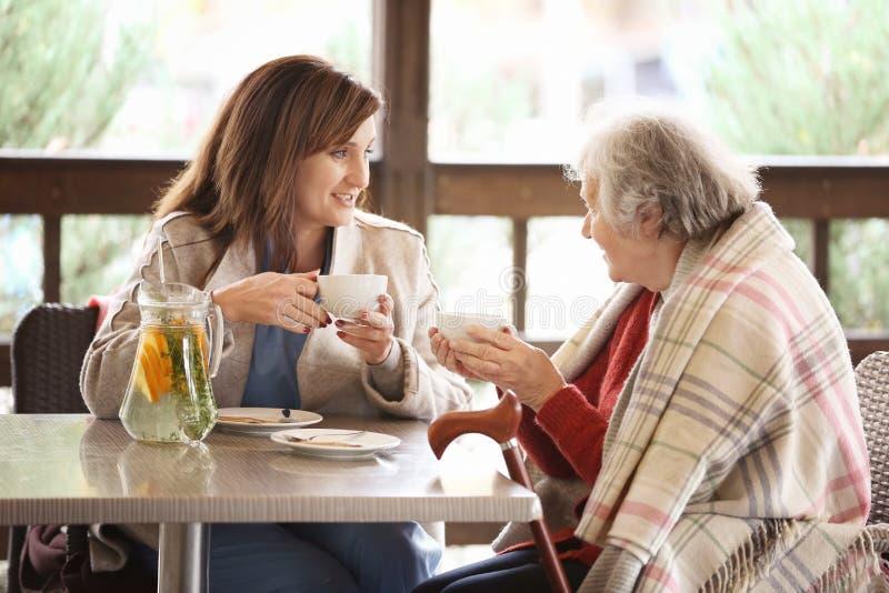 Chá bebendo da mulher superior e do cuidador novo na tabela foto de stock royalty free