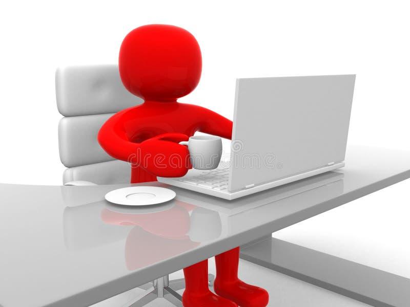 chá bebendo da pessoa 3d e trabalho no portátil ilustração royalty free