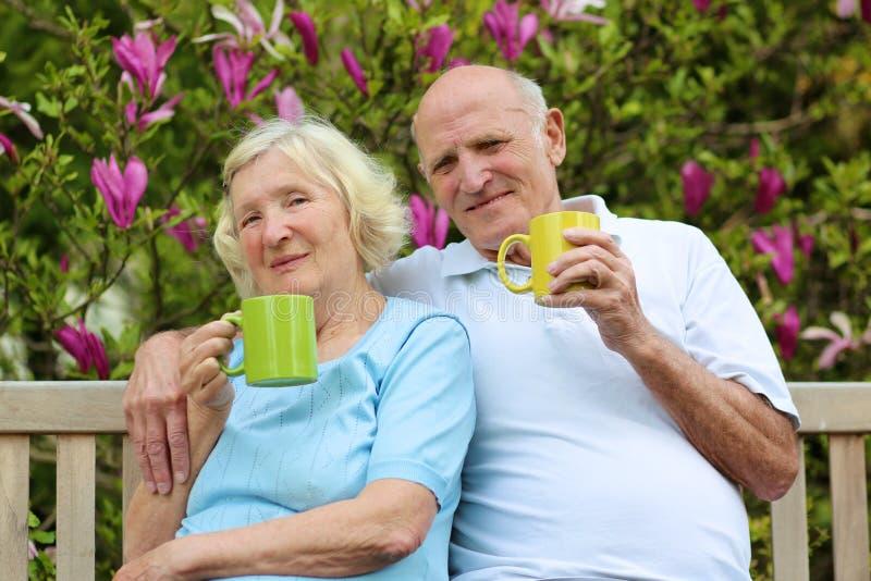 Chá bebendo dos pares superiores loving no jardim fotografia de stock