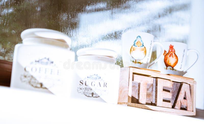 Chá, café, açúcar - recipientes do vintage imagens de stock royalty free