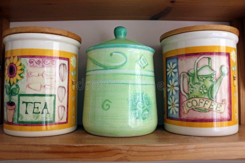 Chá, café e Sugar Canisters fotografia de stock